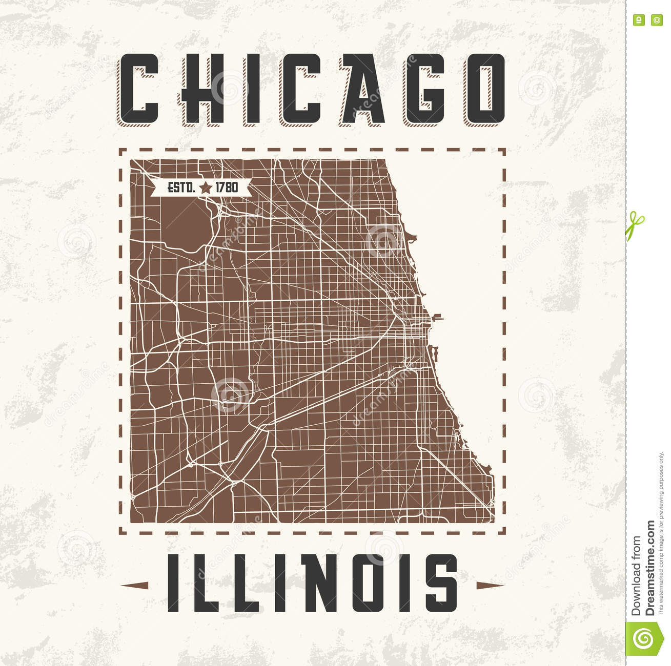 Chicago Vintage Tshirt Graphic Design With City Map Stock Vector - Chicago map download