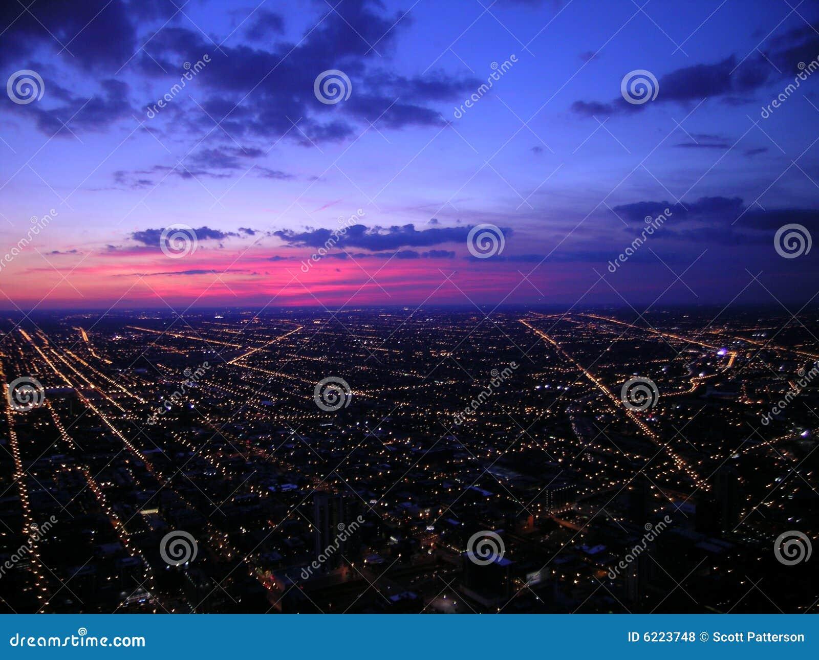 Chicago w nocy widok
