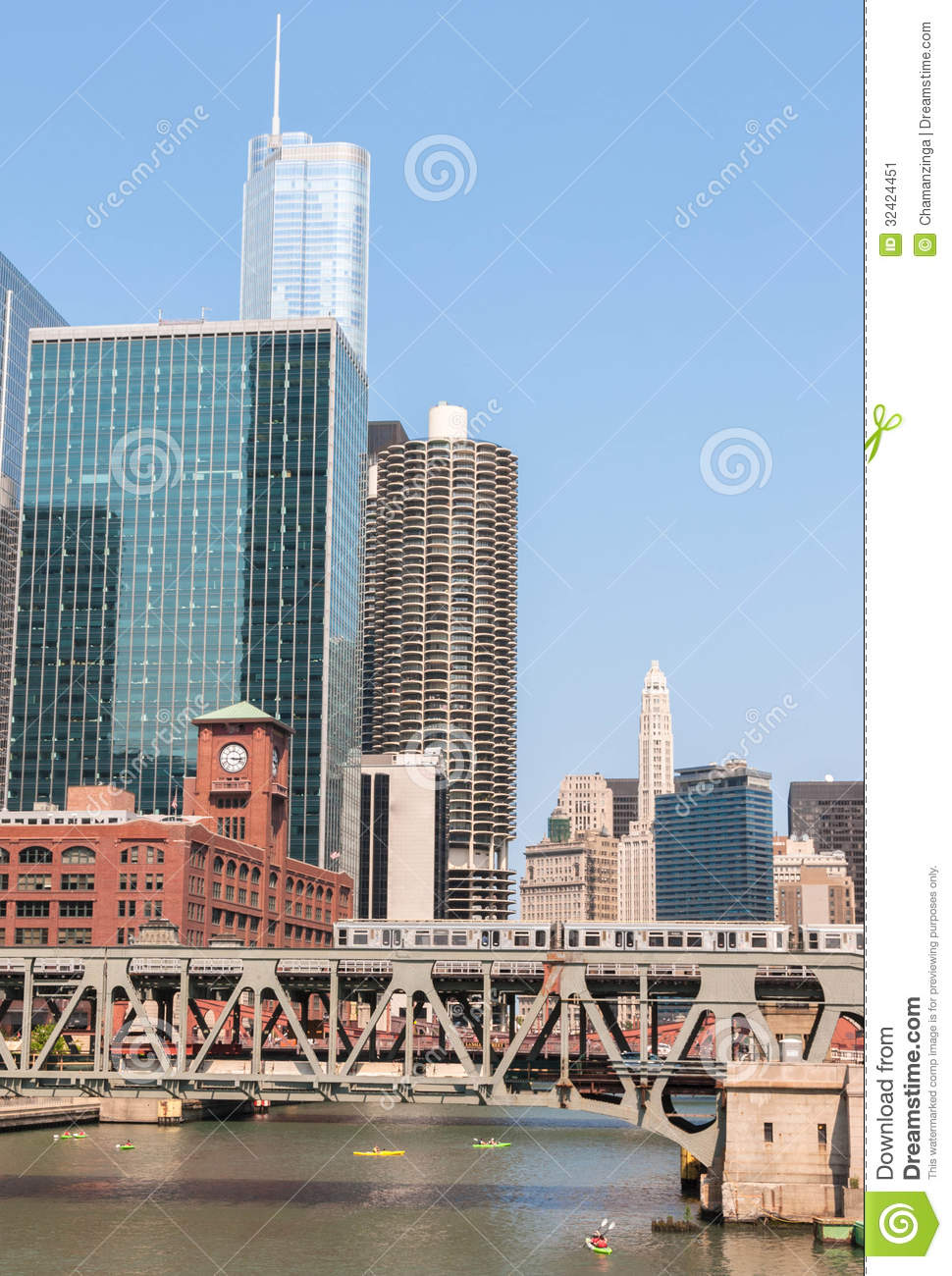 Chicago High Fashion Editorial: Chicago Waterfront And High Rise Buildings Stock Image