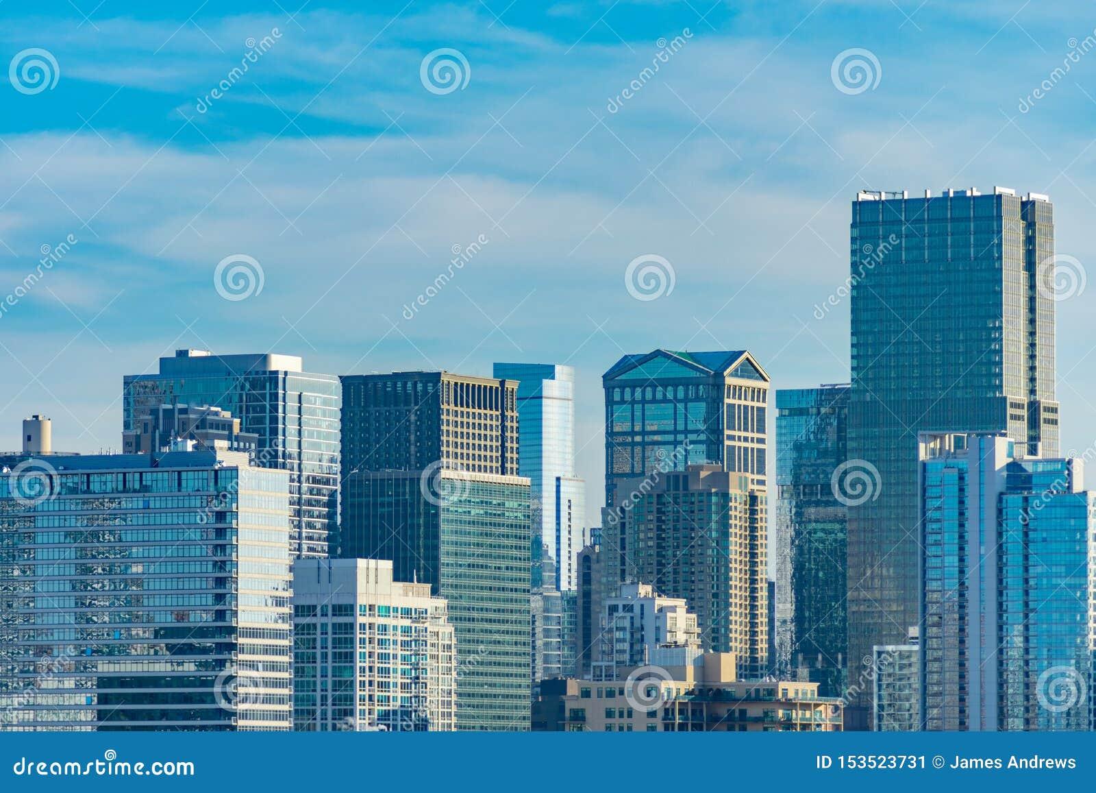 Chicagowska linia horyzontu scena w Rzecznej północy i śródmieściu