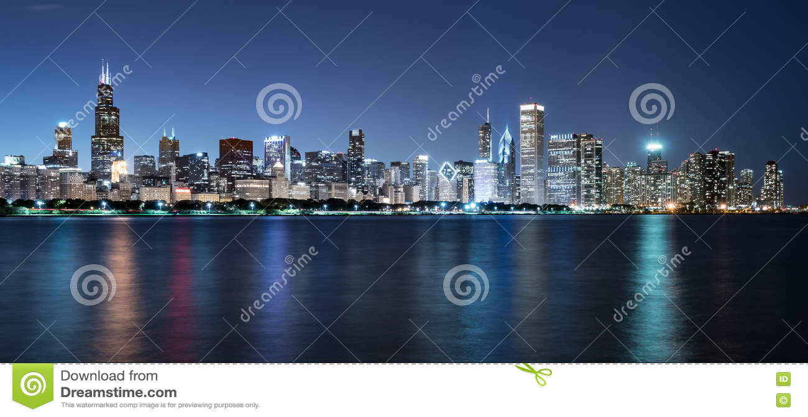 Chicagowska nocy linia horyzontu