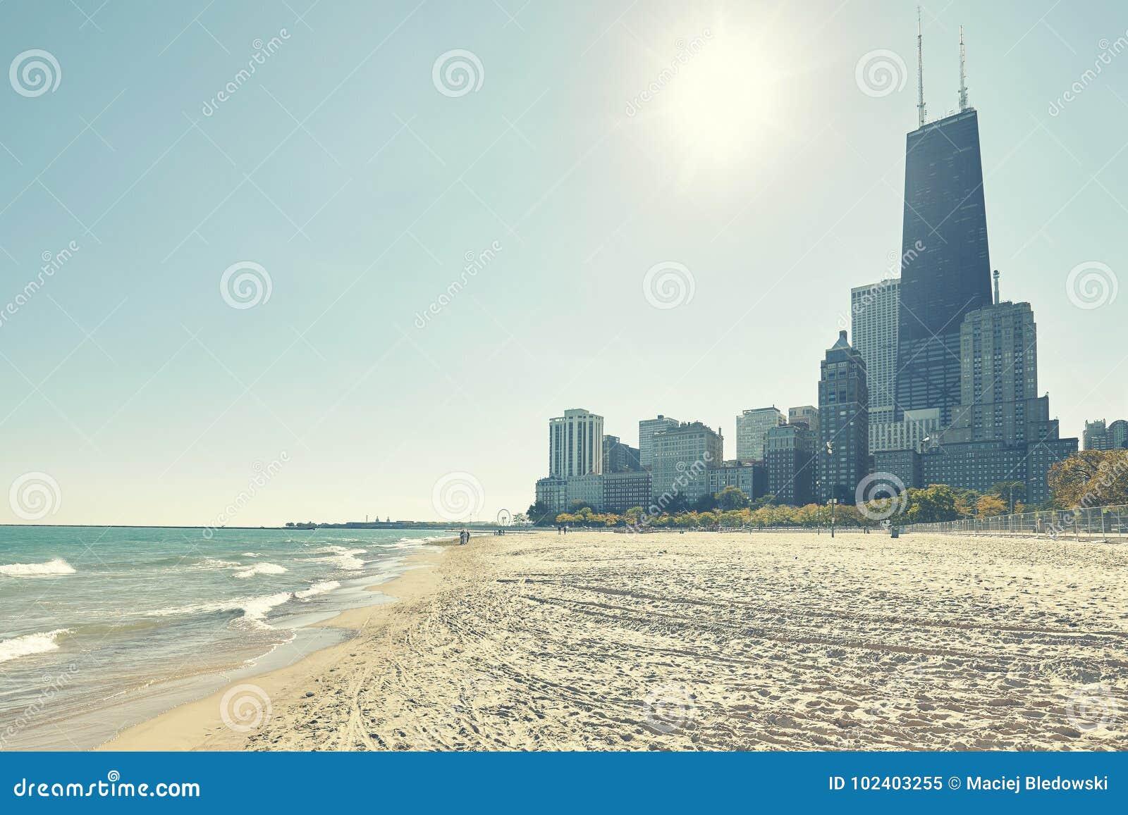 Chicagowski nabrzeże przeciw słońcu, usa