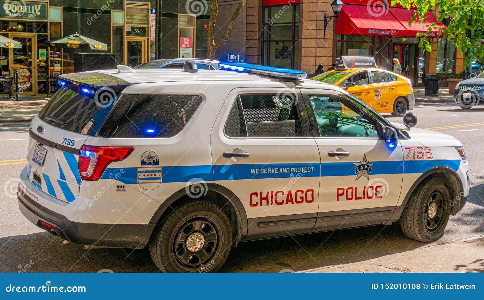 Chicagowski samochód policyjny CZERWIEC 12, 2019 - CHICAGO, usa -