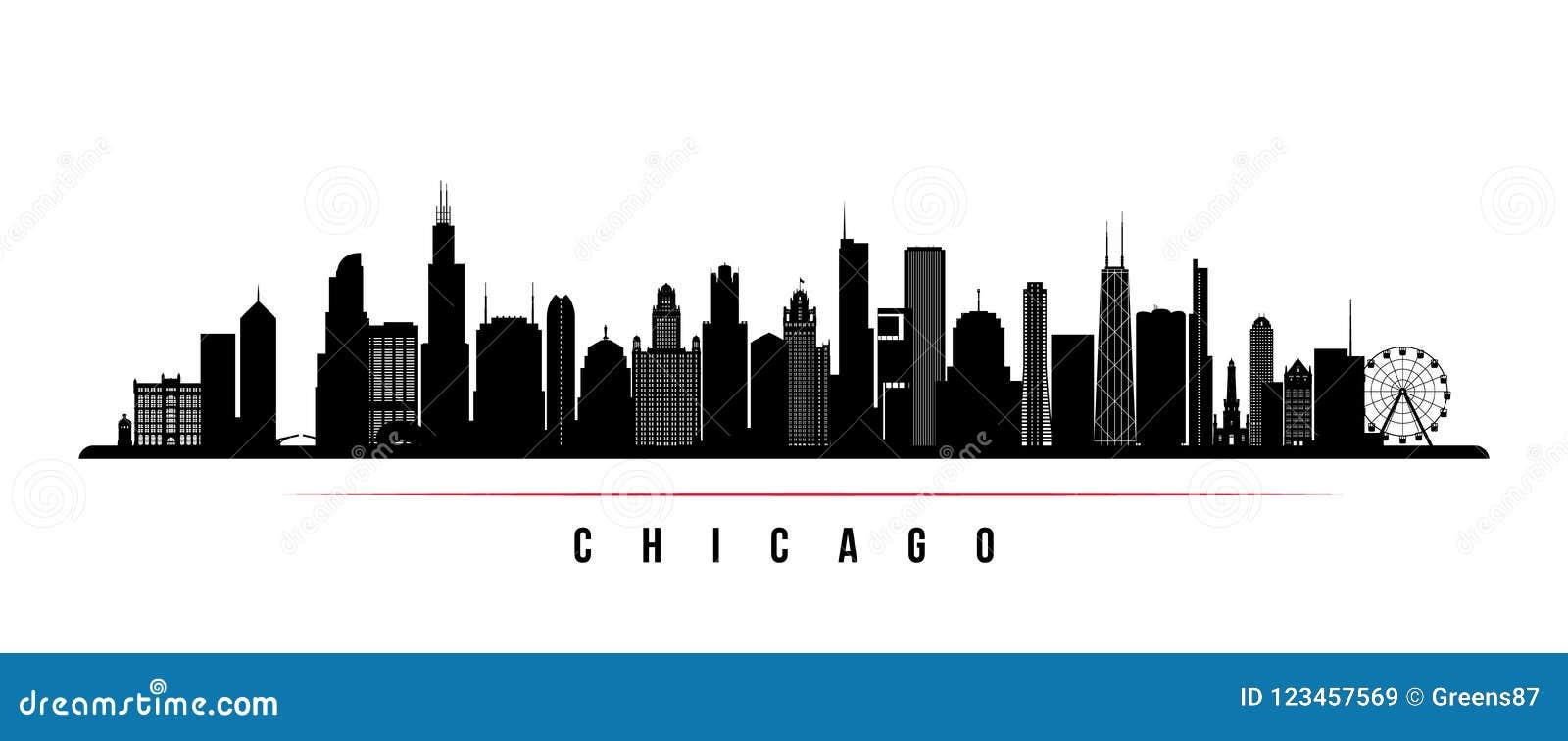 Chicagowskiej miasto linii horyzontu horyzontalny sztandar