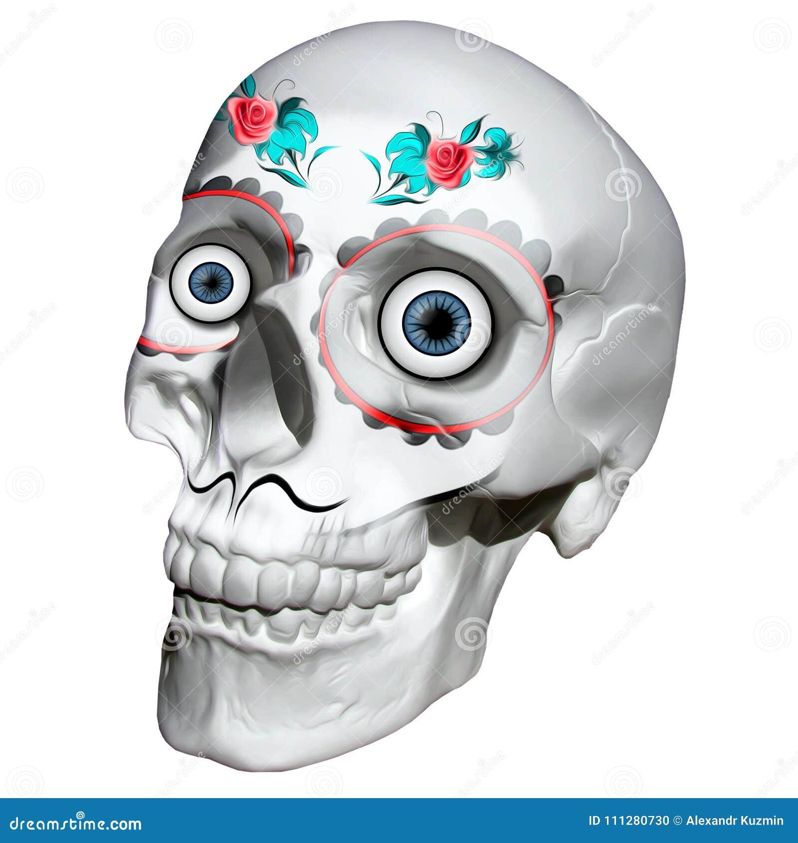 Chicano da tatuagem do crânio rendição 3d