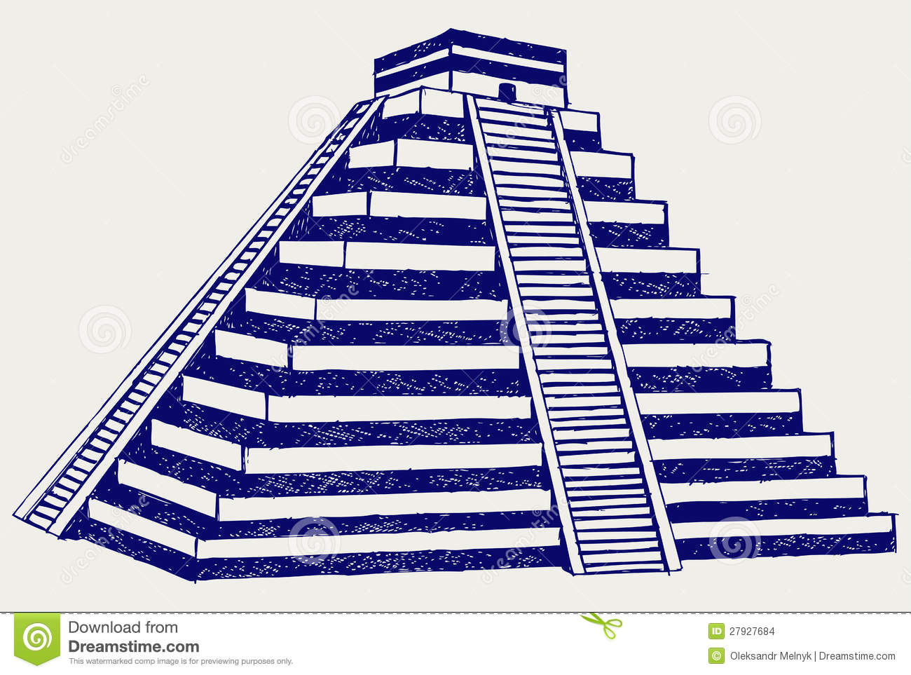 Simple Aztec Pyramid Drawing