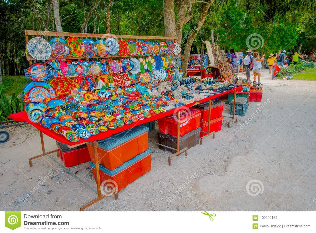 Download CHICHEN ITZA, MEXICO   NOVEMBER 12, 2017: Unidentified People  Buying Beautiful And