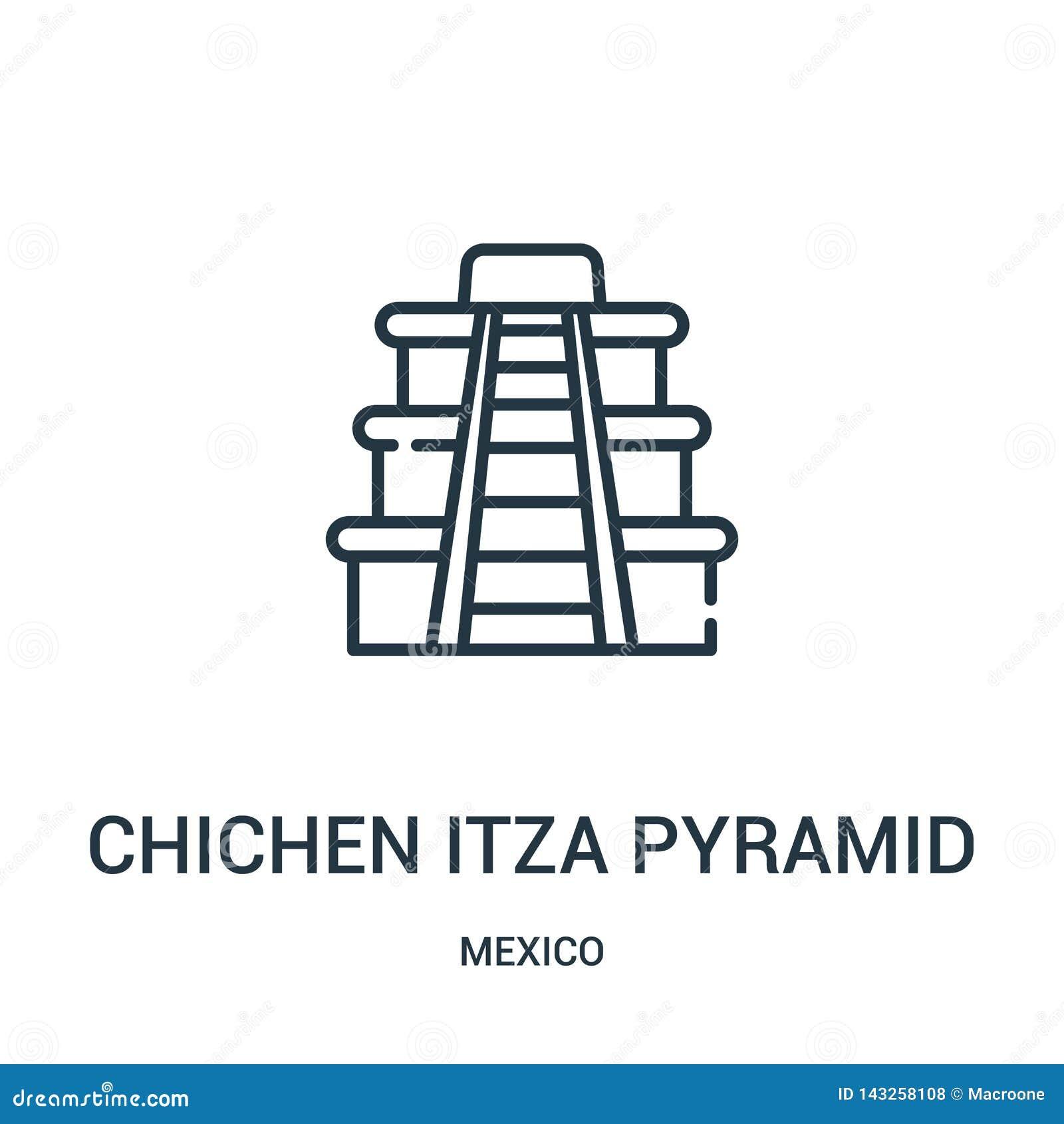 Chichen itza ostrosłupa ikony wektor od Mexico kolekcji Cienka linia chichen itza ostrosłupa konturu ikony wektoru ilustrację