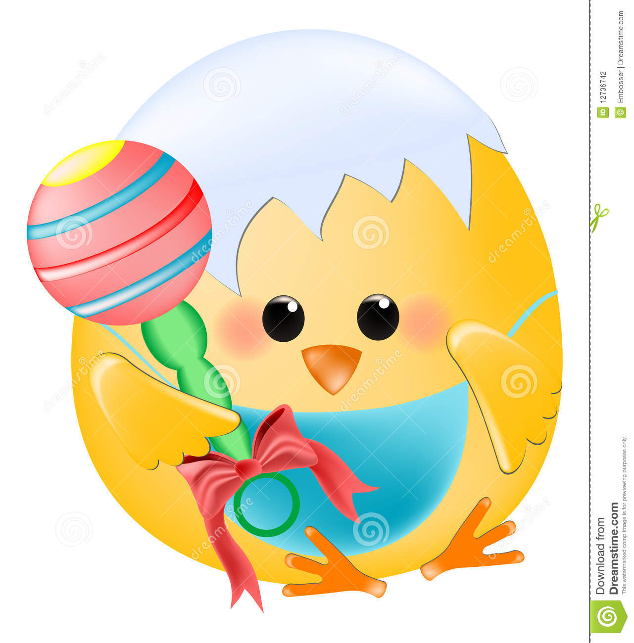 chick baby with rattle stock vector illustration of easter 12736742