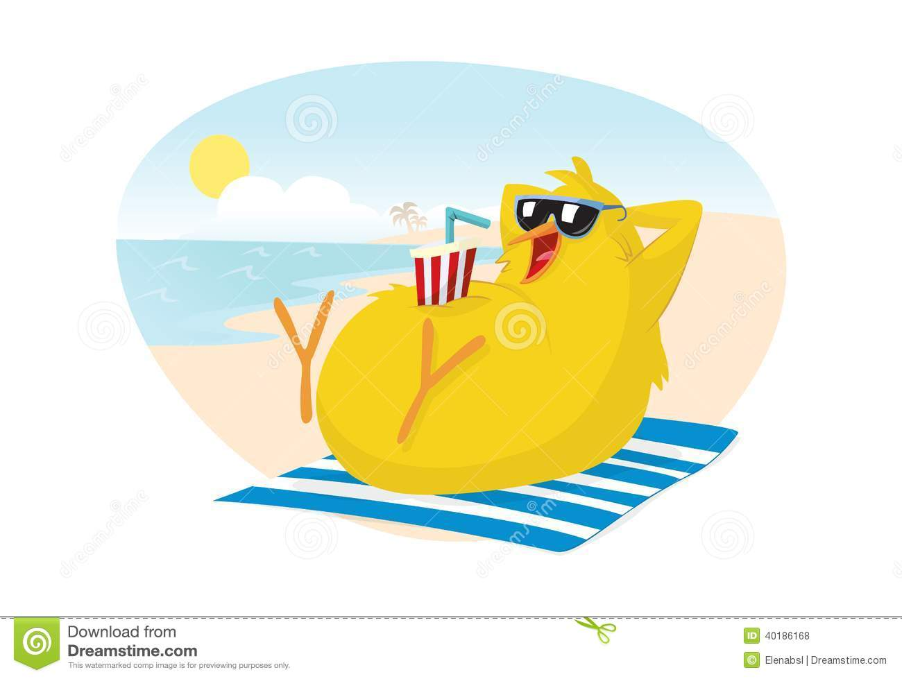 Chick On The Beach Stock Vector Image 40186168