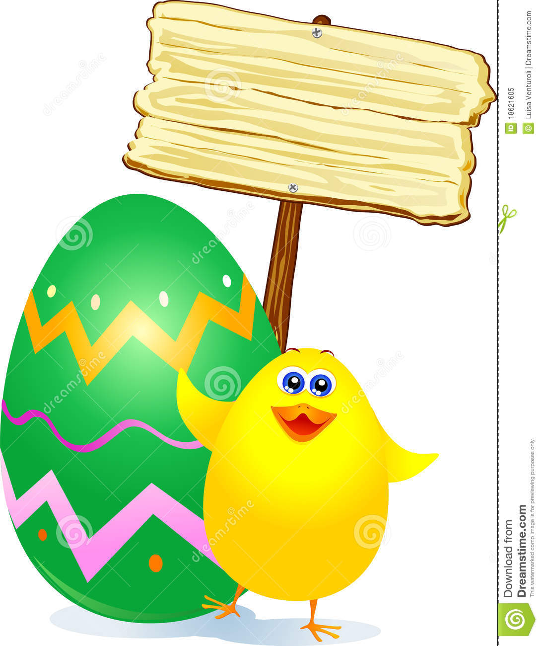 Chick, Easter Egg And Sign Royalty Free Stock Photo ...