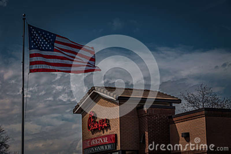 Chick Fil A Restaurant Exterior With Us Flag Editorial Photography