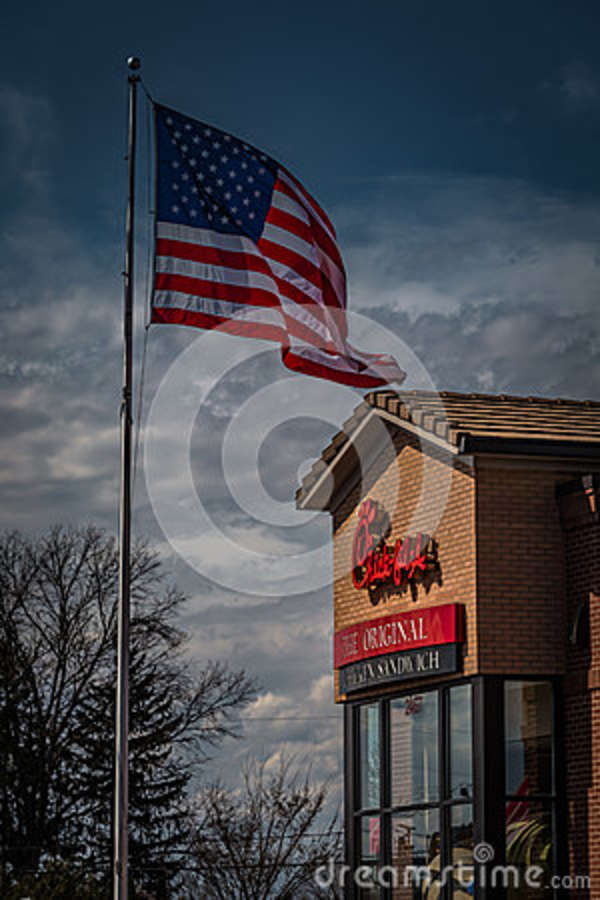 Chick Fil A Restaurant With Us Flag Editorial Photography Image Of