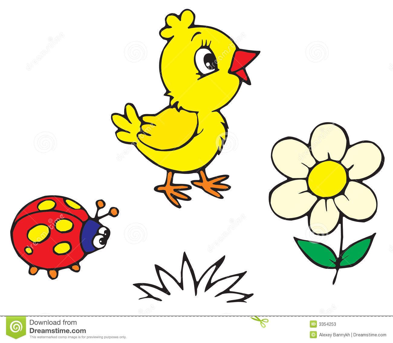 Chick And Ladybug (vector) Stock Photos - Image: 3354253