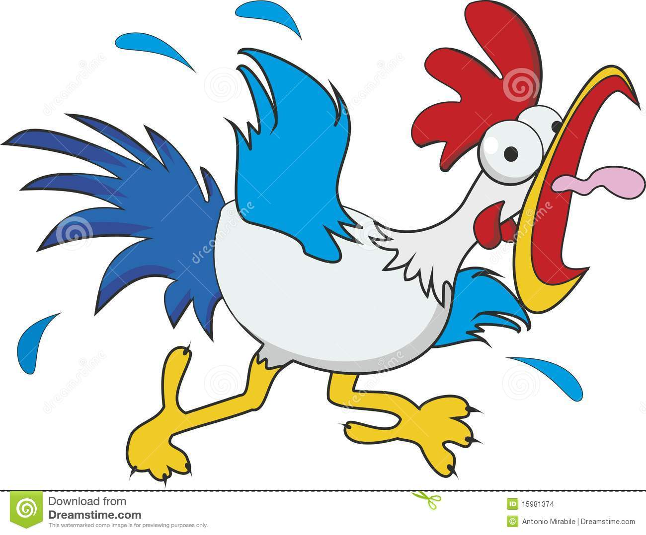 Funny cartoon chicken isolated on white background.