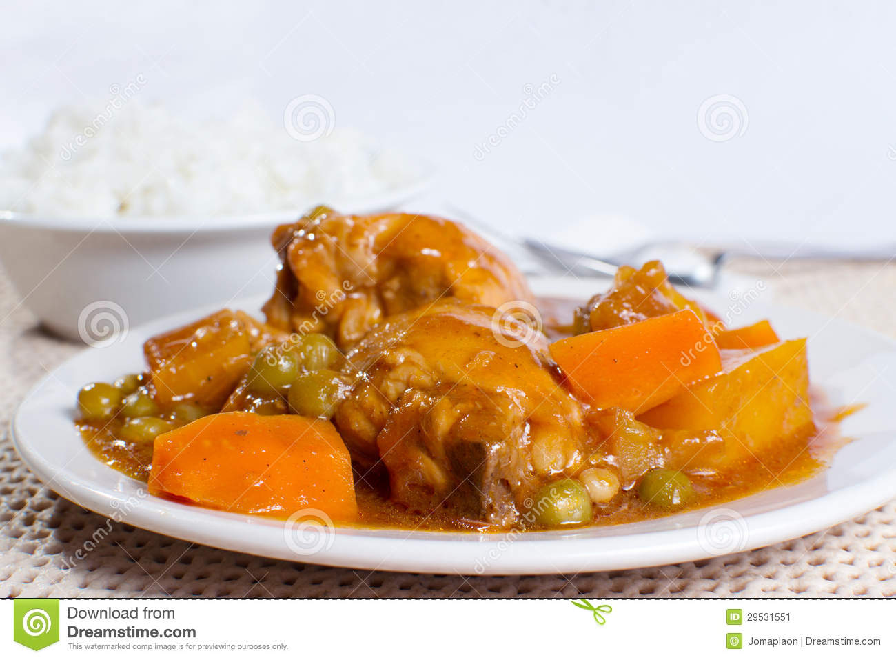 Chicken Afritada With Bowl Of Rice Closeup Stock Image Image Of