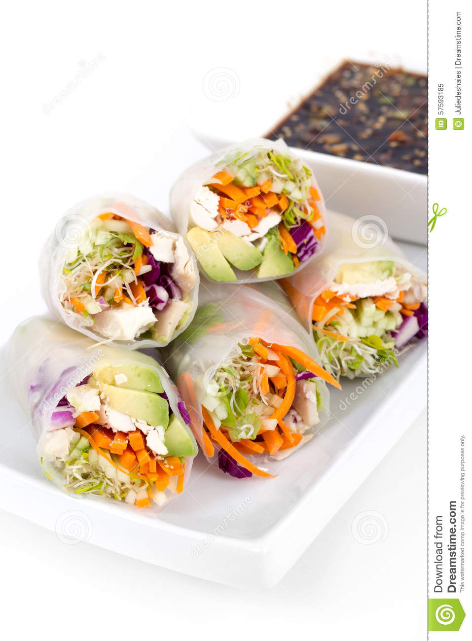 Chicken And Avocado Rice Paper Spring Rolls Stock Image Image Of Roll Studio 57593185