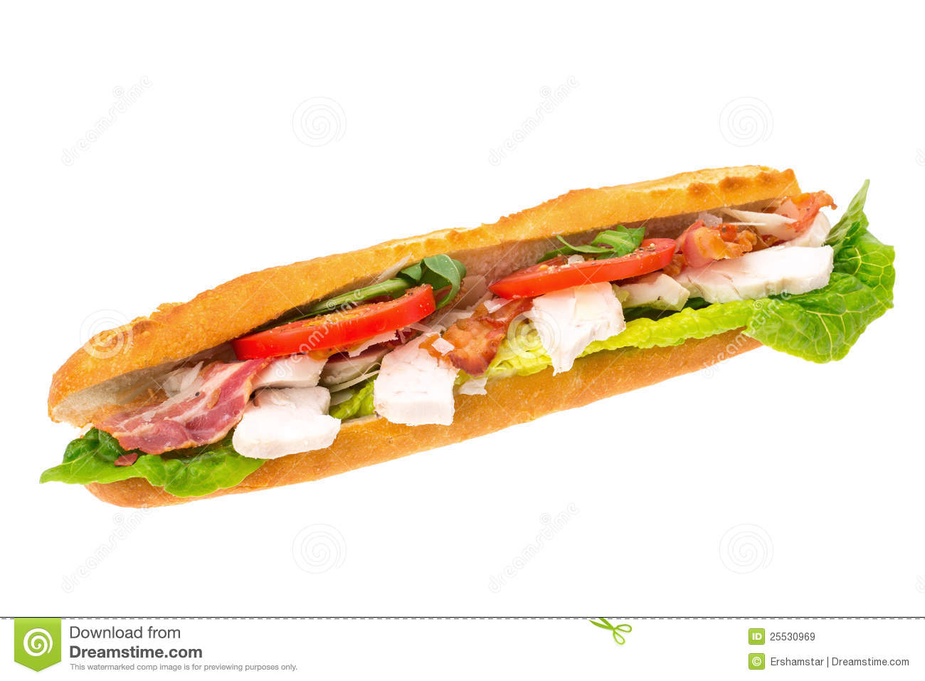 Chicken, Bacon And Salad Filled Baguette Royalty Free Stock Images - Image: 25530969