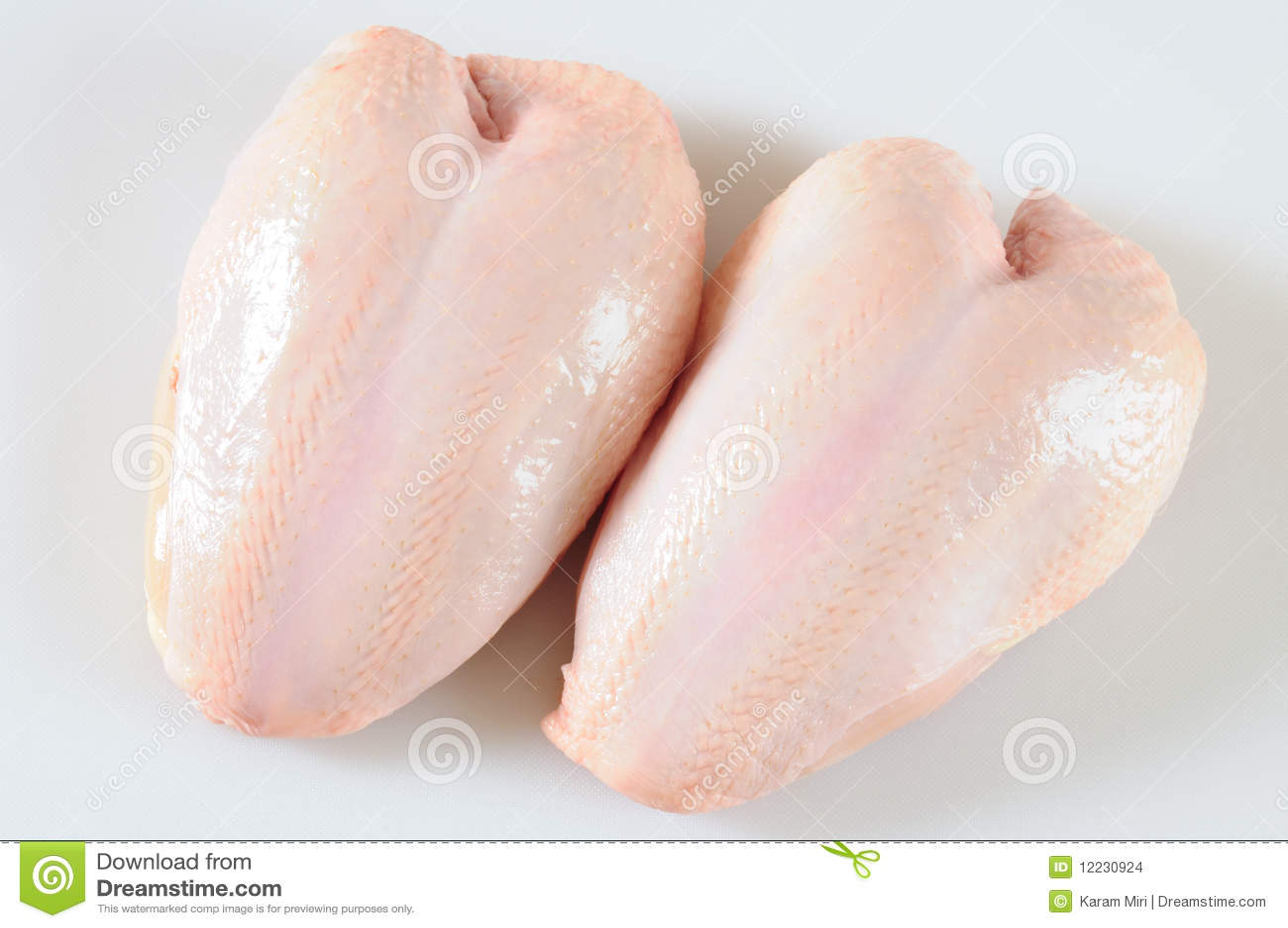 Breast Breasts Chicken Fresh Skin Two