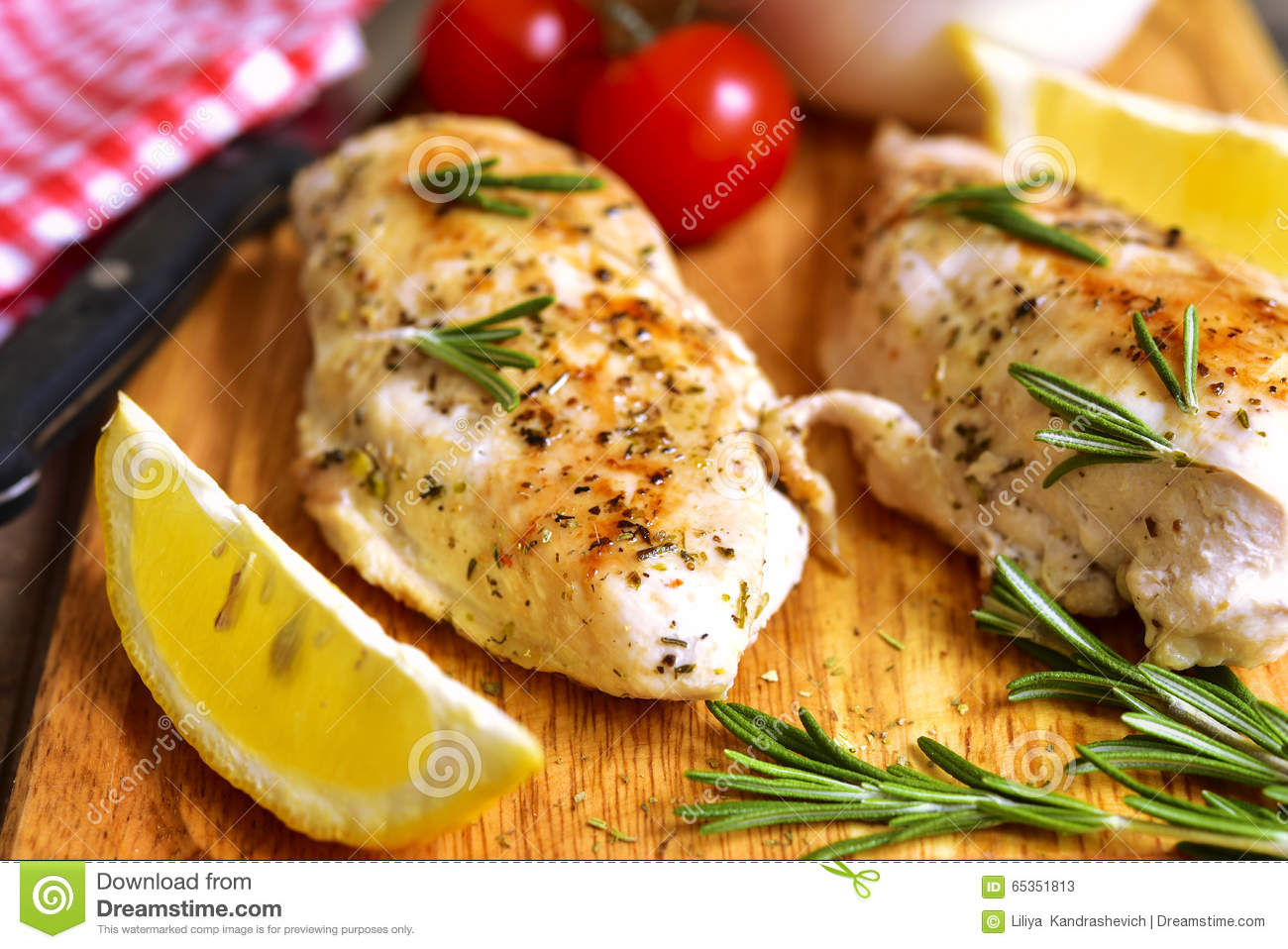 Chicken Breast Baked With Rosemary. Stock Photo - Image: 65351813