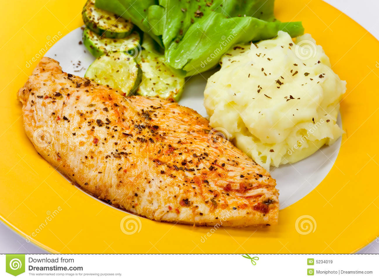 Chicken Breast - Marinated And Baked,with Salad Royalty Free Stock ...