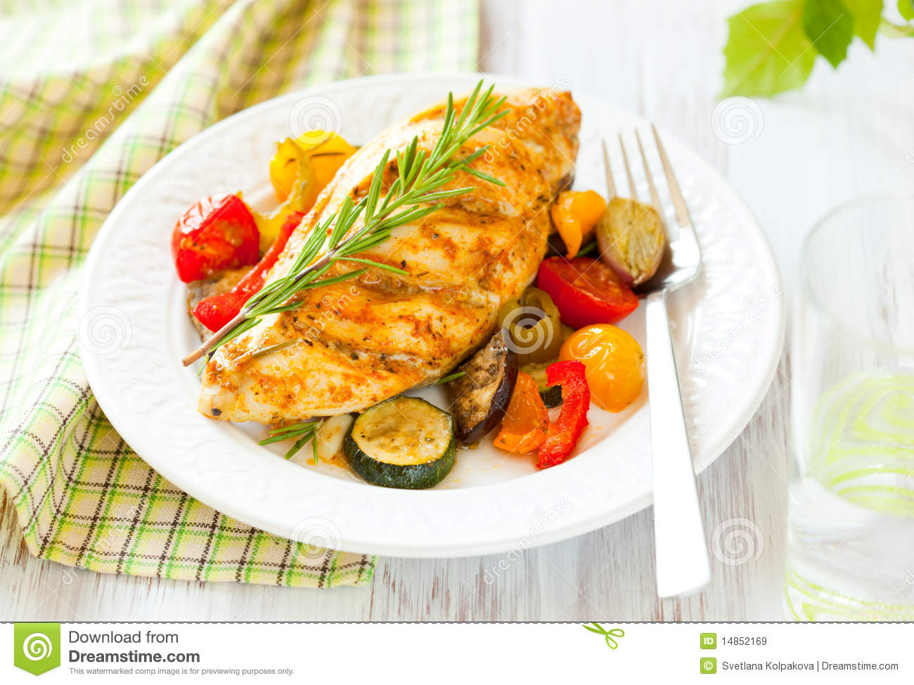 Chicken breasts and vegetables