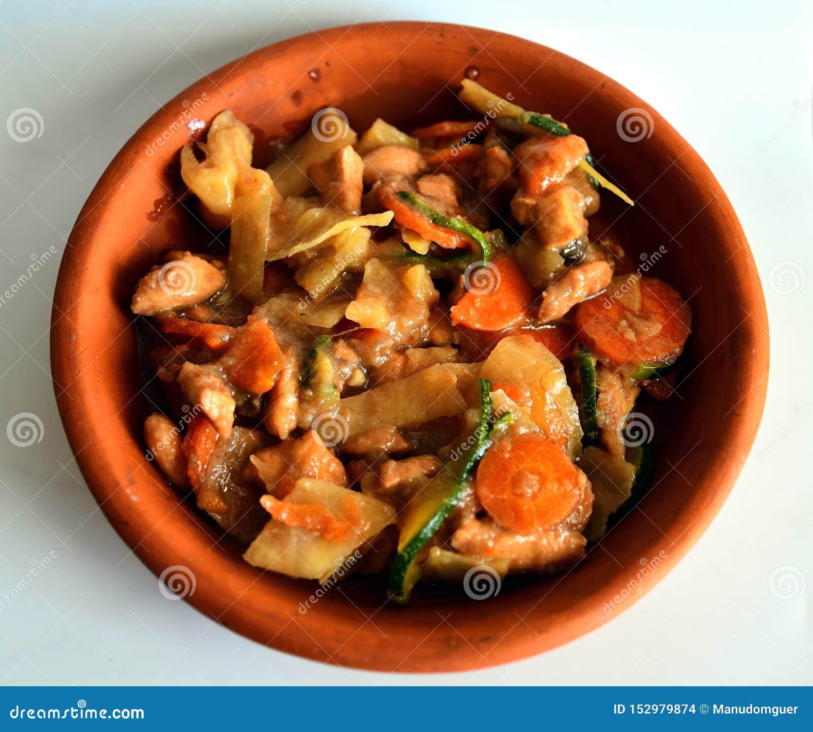 Chicken Casserole. Mixed Asian food.