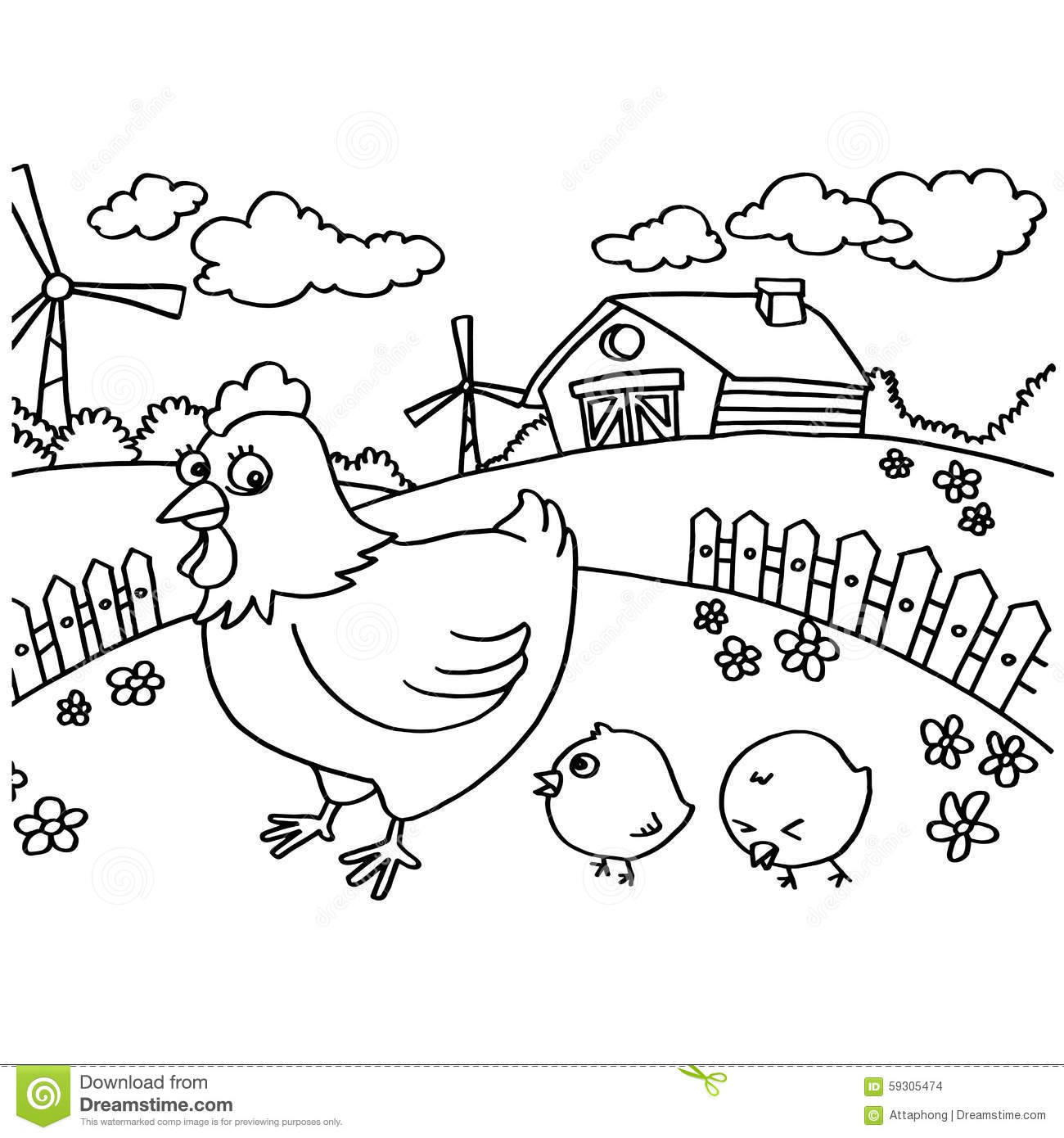 Chicken Coloring Pages Vector Stock Vector