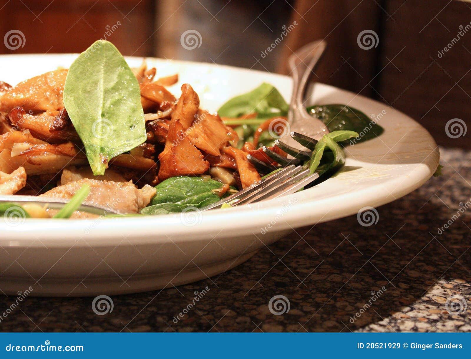 Chicken Confit Salad On White Plate