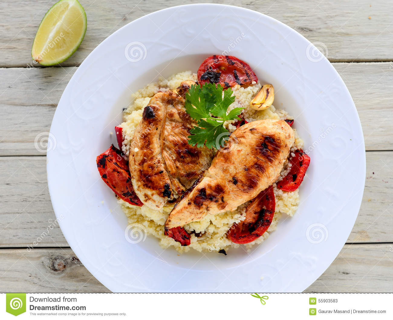 Chicken With Couscous Stock Photo - Image: 55903583