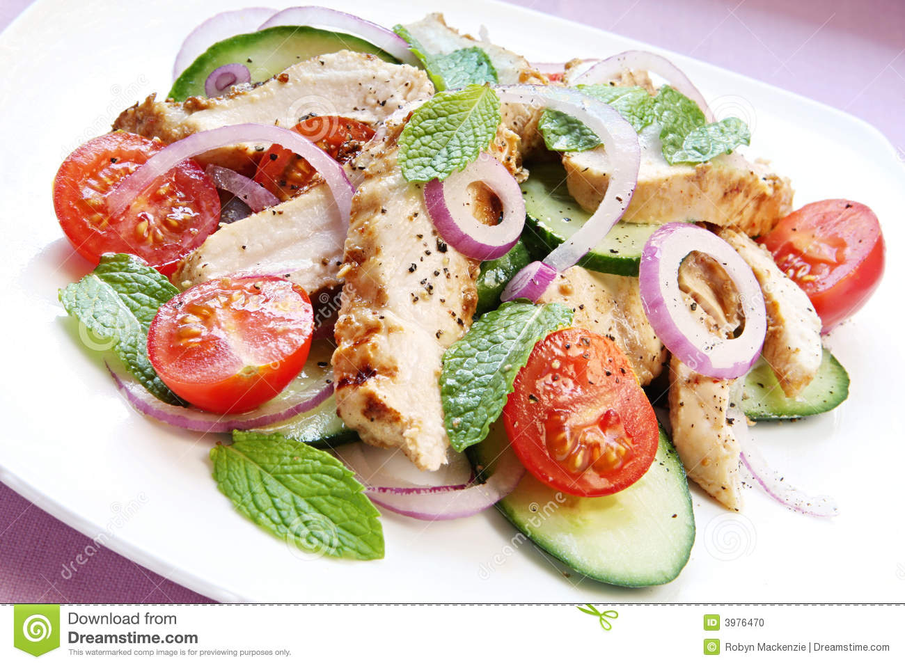 Chicken Cucumber and Mint Salad