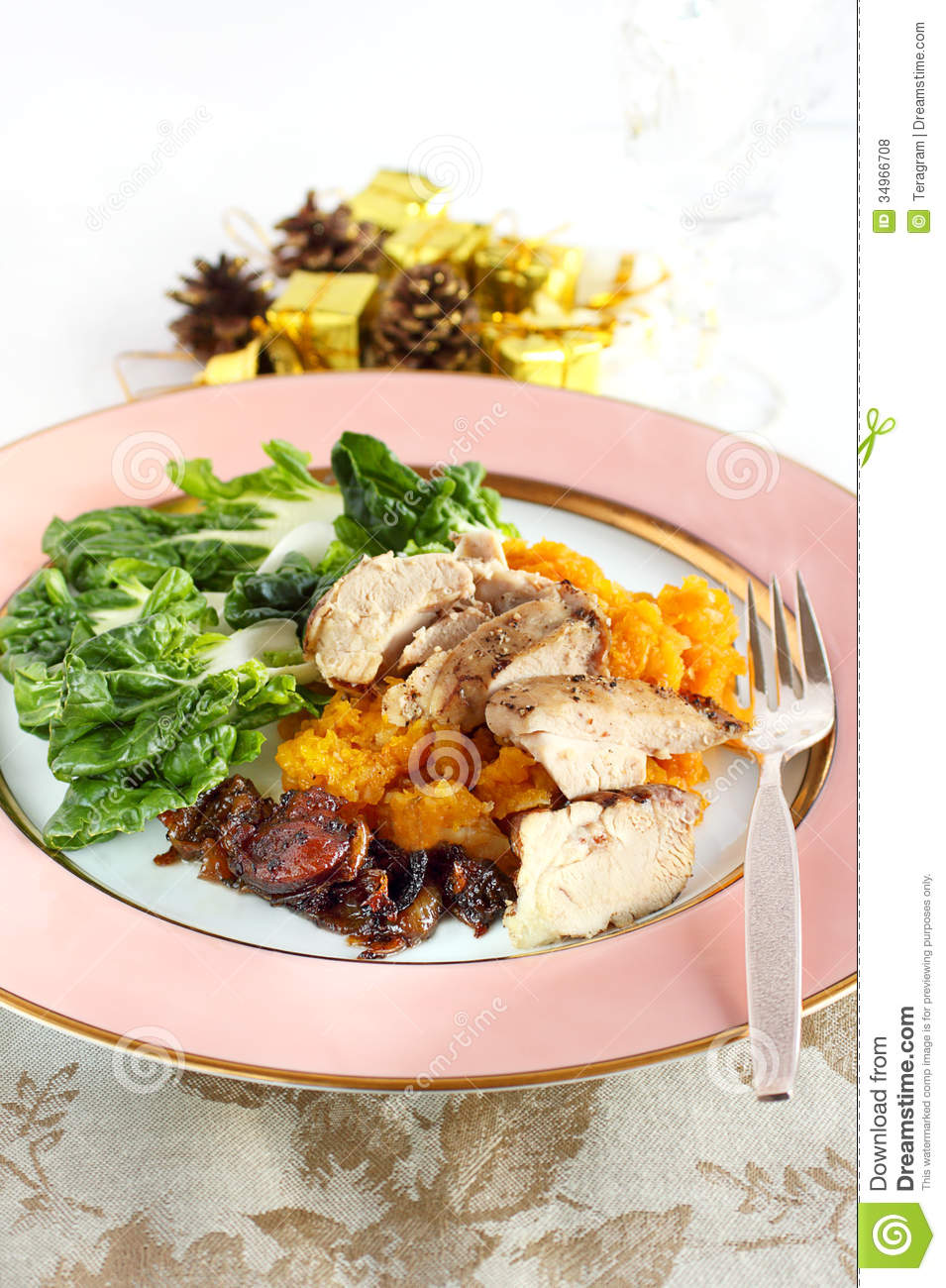 Herb chicken served with mashed squash, Chinese cabbage and ...