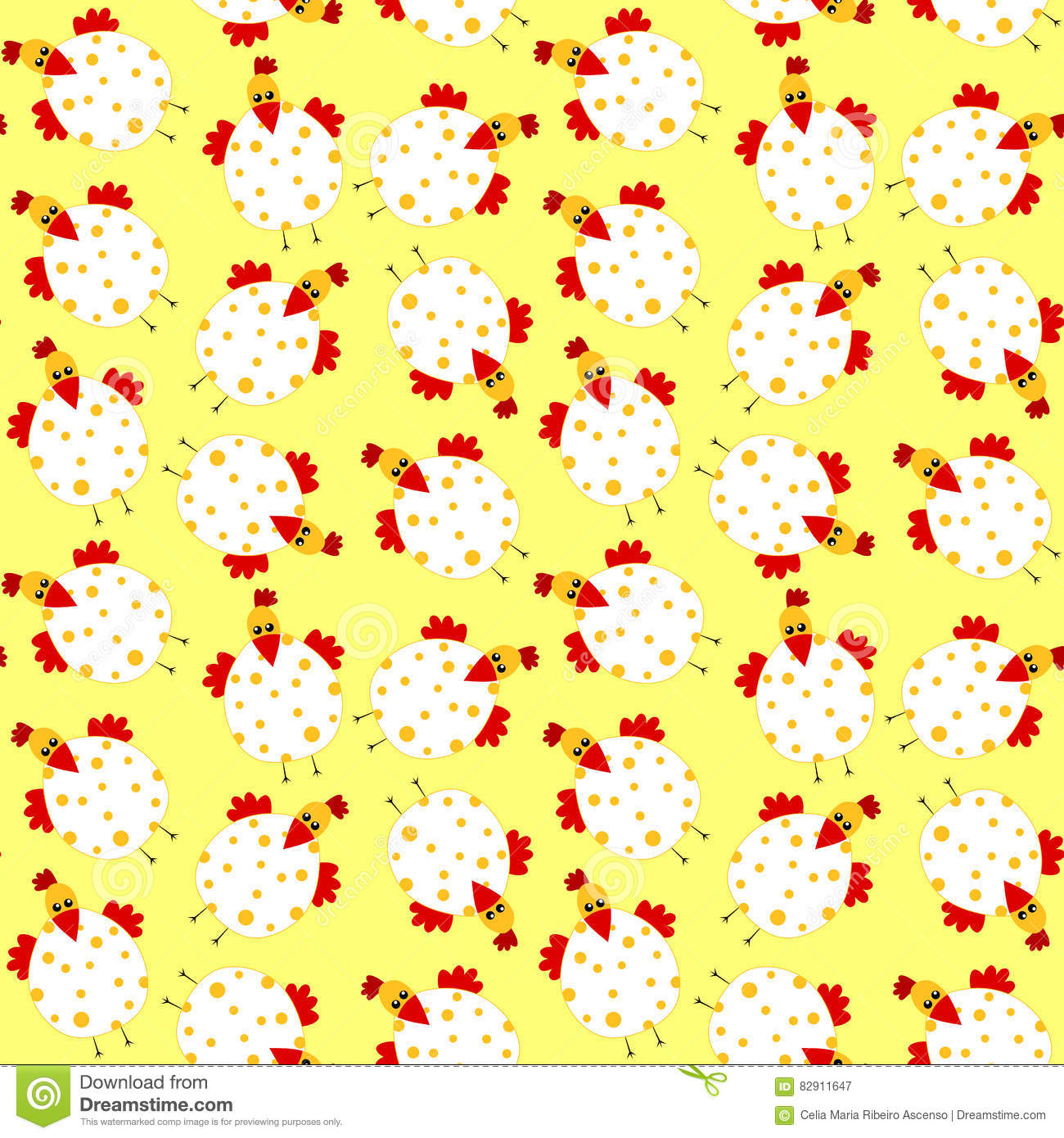 Chicken easter seamless background