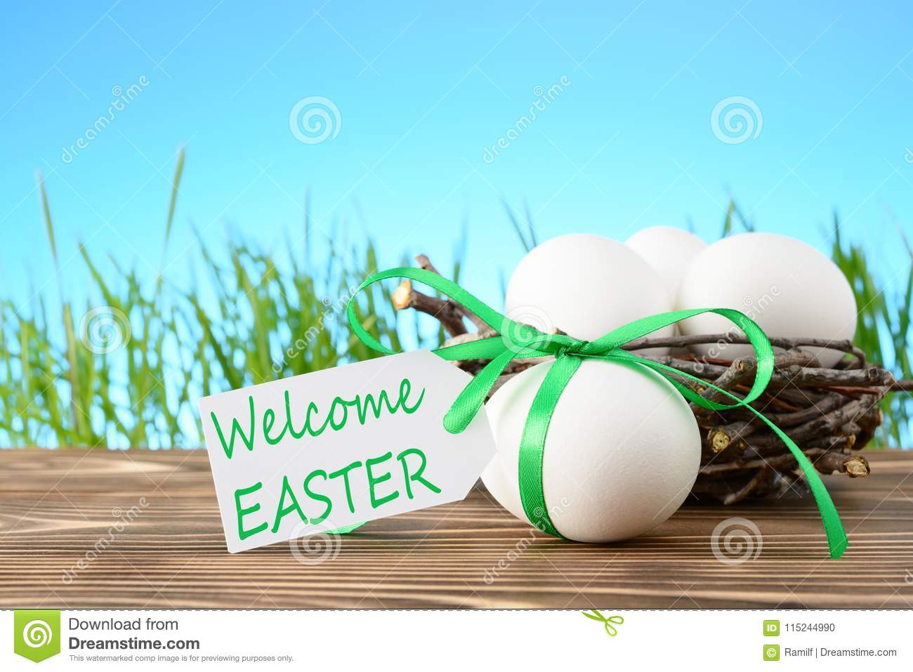 Chicken Eggs In Basket For Easter Stock Photo - Image of nature ...