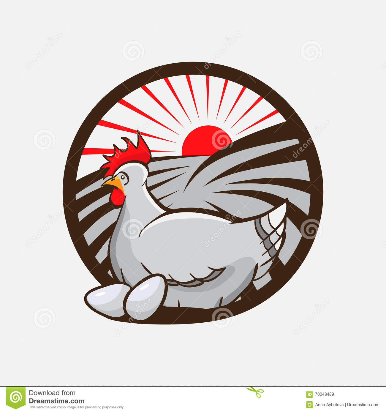 Chicken Farm Emblem Vector Illustration Stock Vector