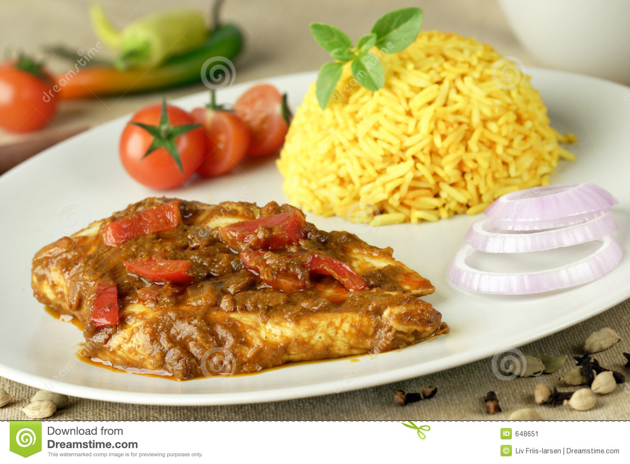 Chicken fillet with curry sauce