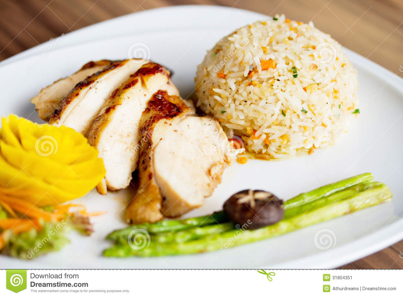 Chicken Fillet With Fried Rice Stock Image - Image: 31804351