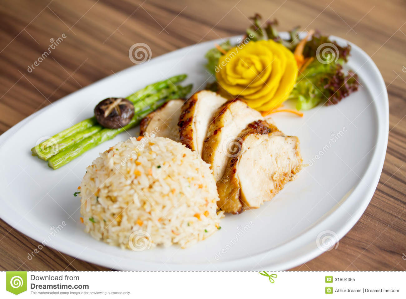 Chicken Fillet With Fried Rice Royalty Free Stock Photo ...