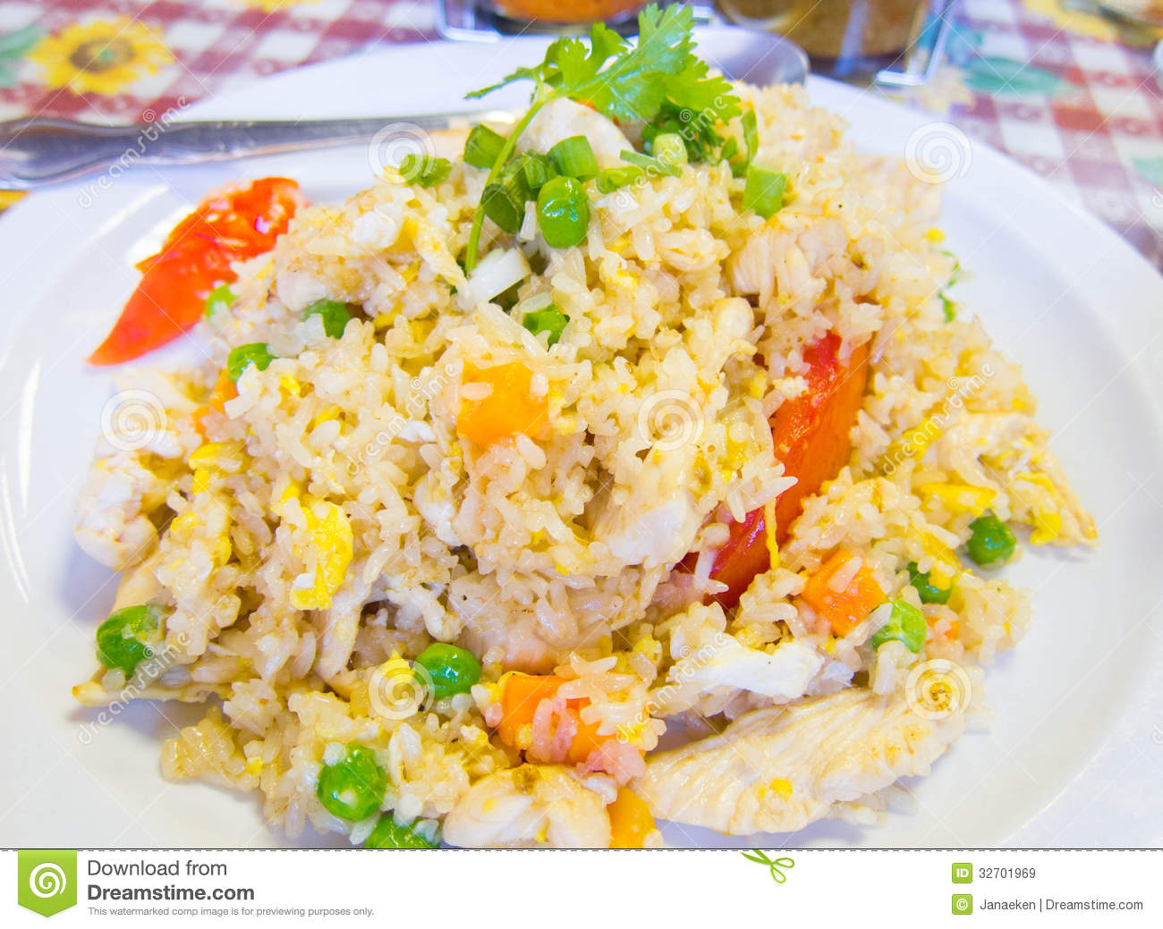 Chicken fried rice stock image. Image of gastronomy, white ...