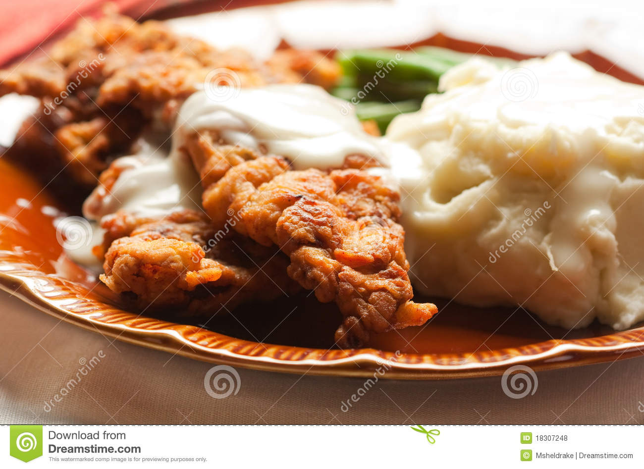 Thin Steak fried and covered in gravy accompaned by mashed potatoes ...