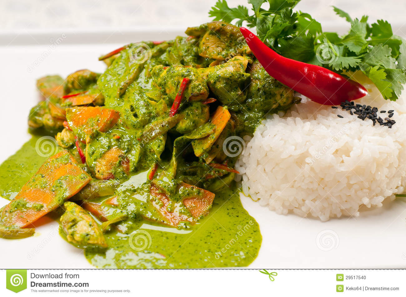 Chicken With Green Curry Vegetables And Rice Stock PhotoImage