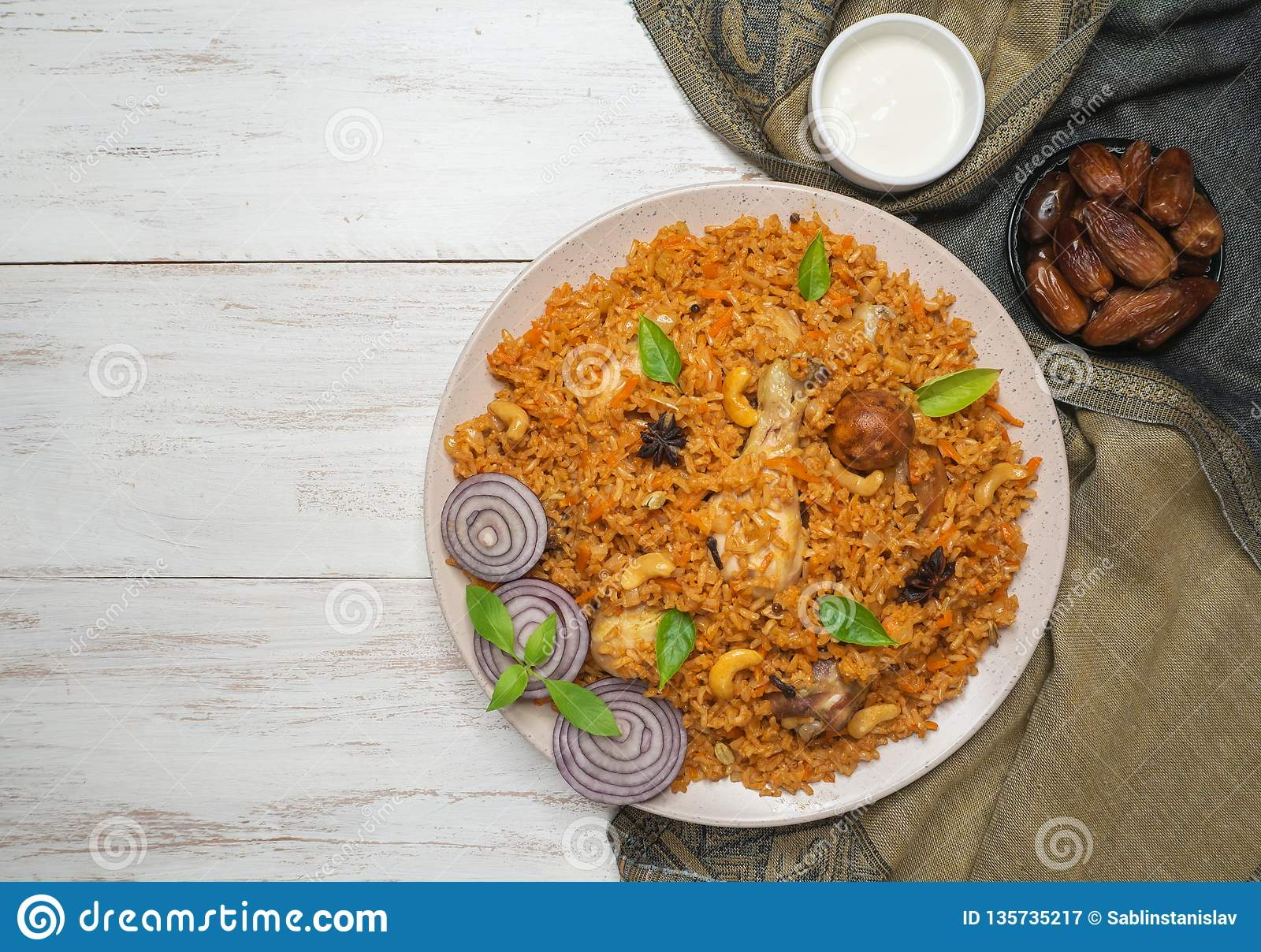 Chicken Kabsa With Dates Arabic Dish Top View Stock Image Image Of Biryani Carrot 135735217