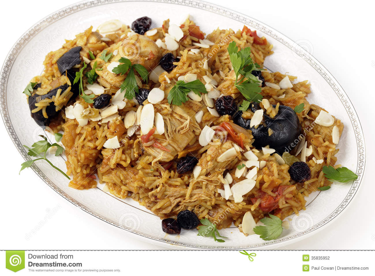 Chicken kabsa on a serving plate stock photo image 35835952 for American style cuisine