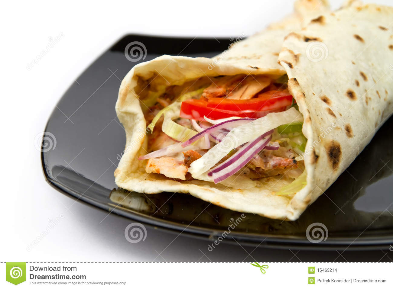 Chicken Kebab Wrap Stock Photo Image Of Dinner Party 15463214