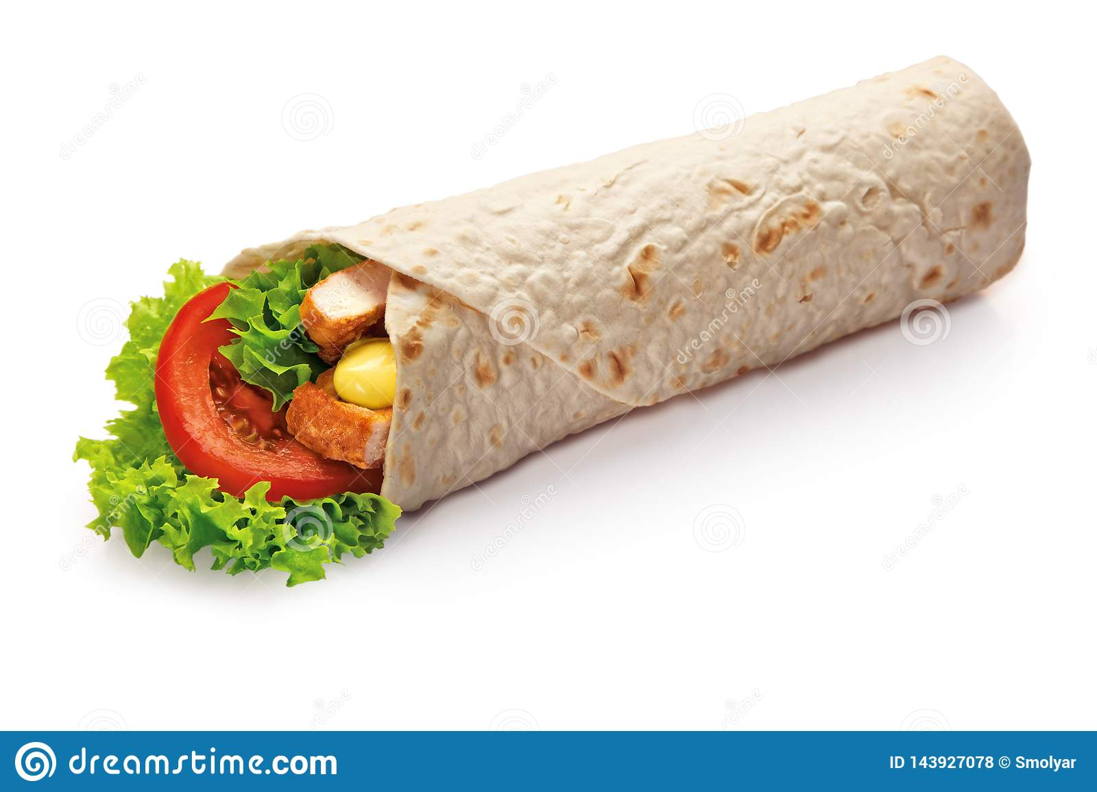 Chicken Kebab Wrap With Green Salad And Vegetables Close Up Isolated On White Background Stock Photo Image Of Sauce Cheese 143927078