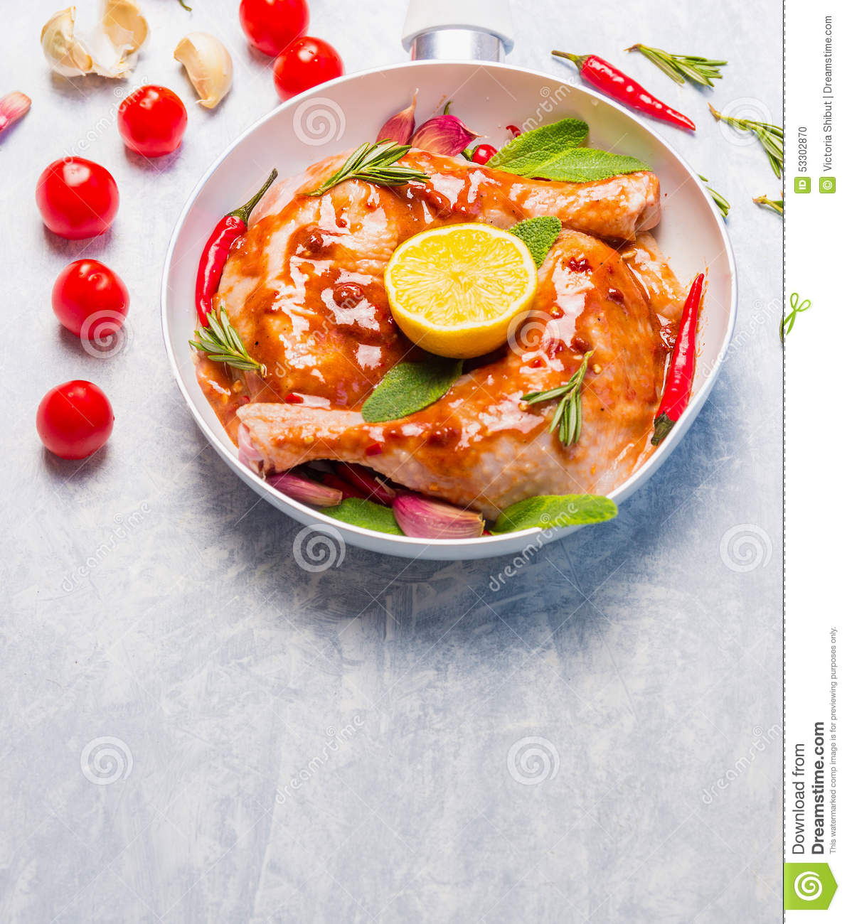 Chicken Legs With Hot Red Spicy Marinade, Lemoon And Sage