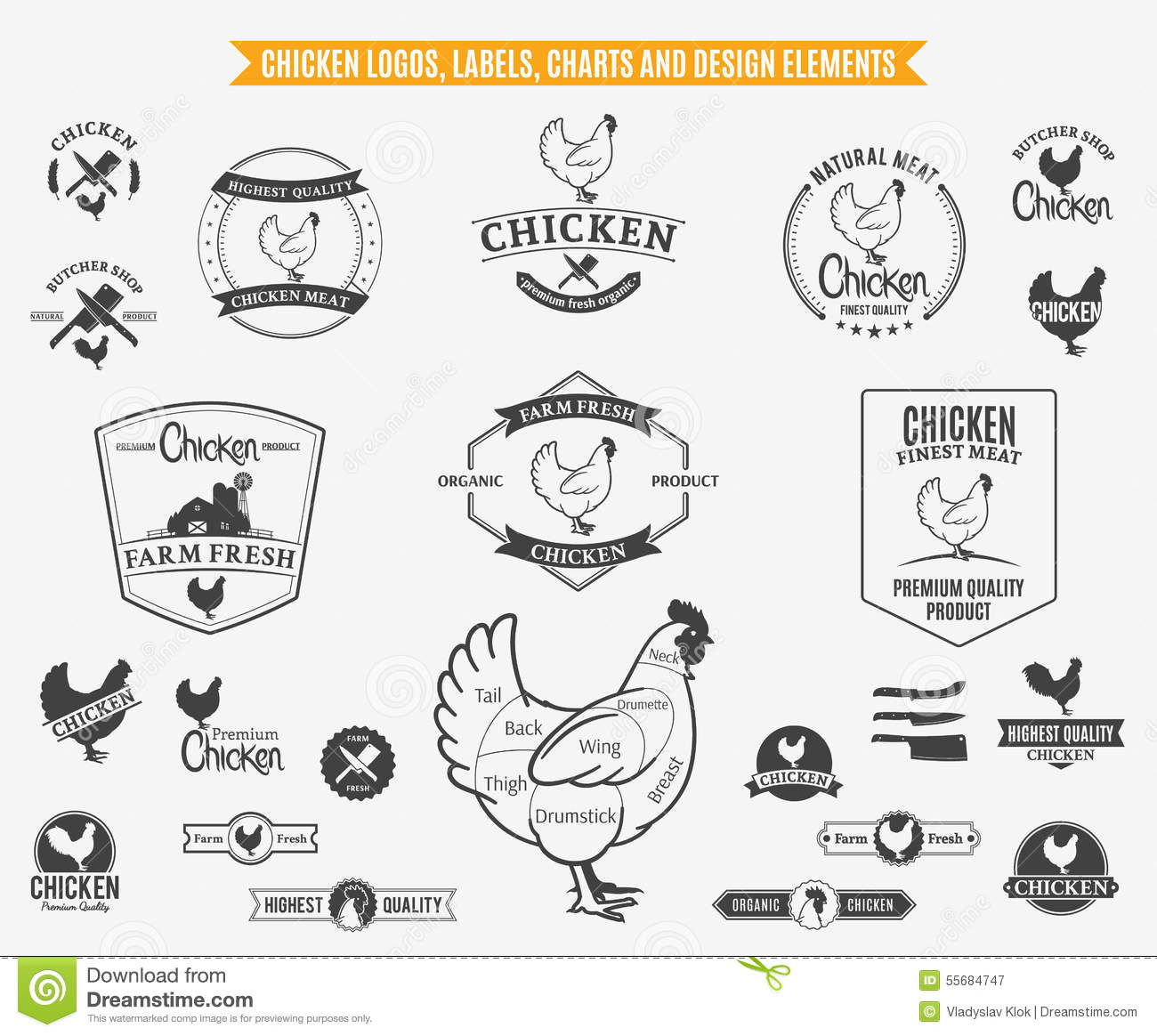 chicken logos  labels  charts and design elements stock vector