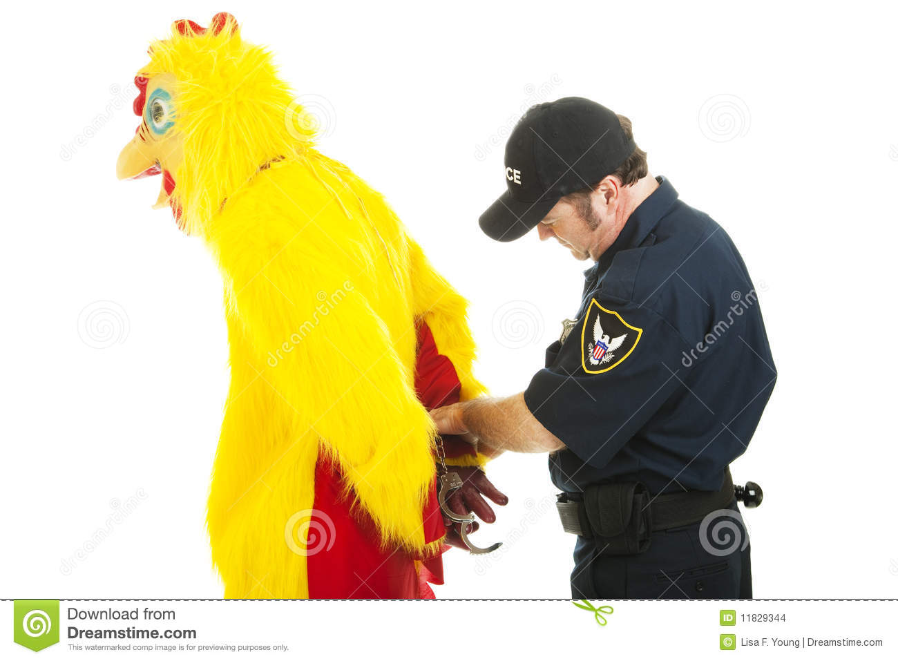 Chicken man being handcuffed by a police officer. Isolated on white.