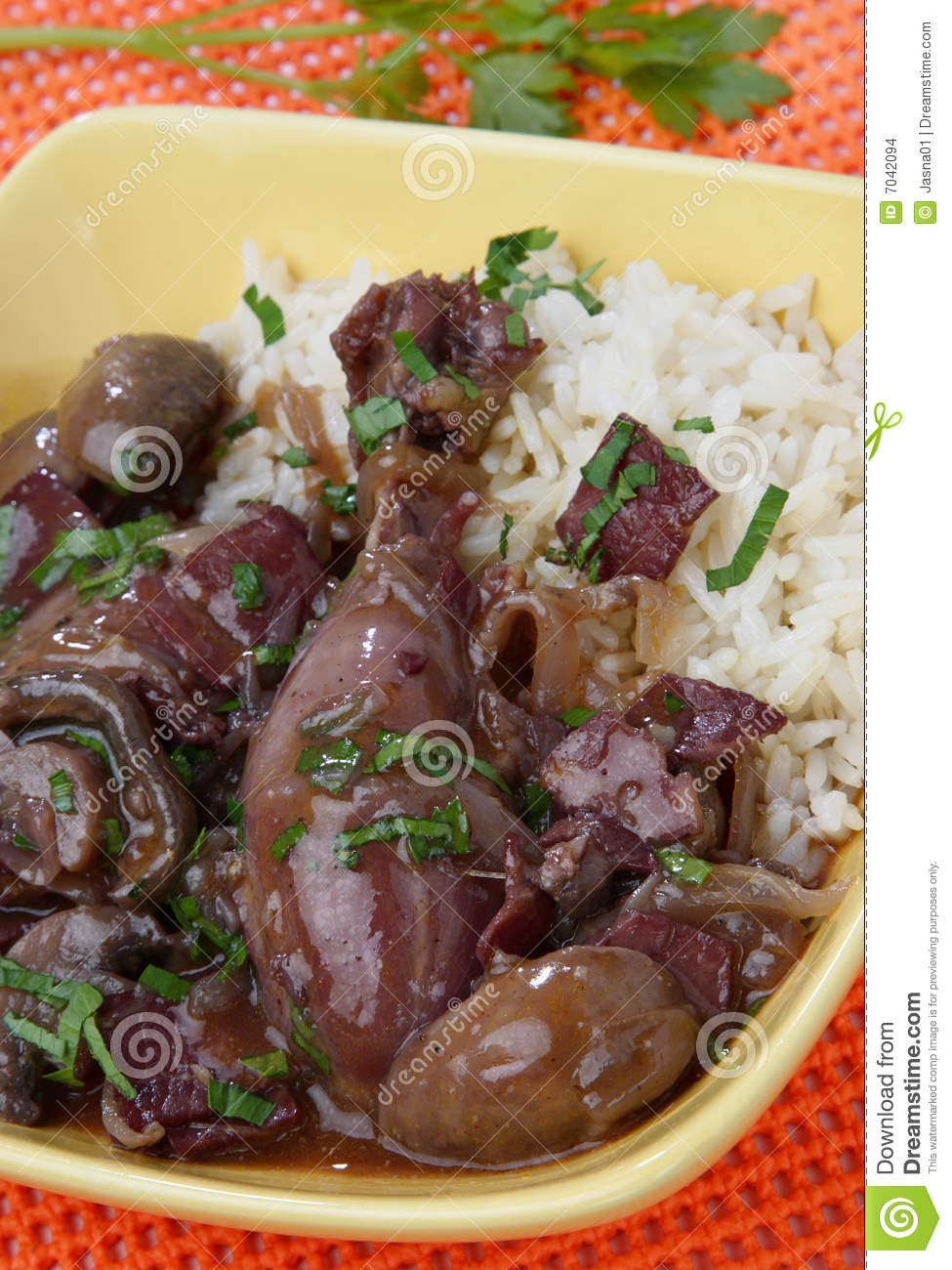 Chicken Meat In Red Wine Sauce Stock Images - Image: 7042094