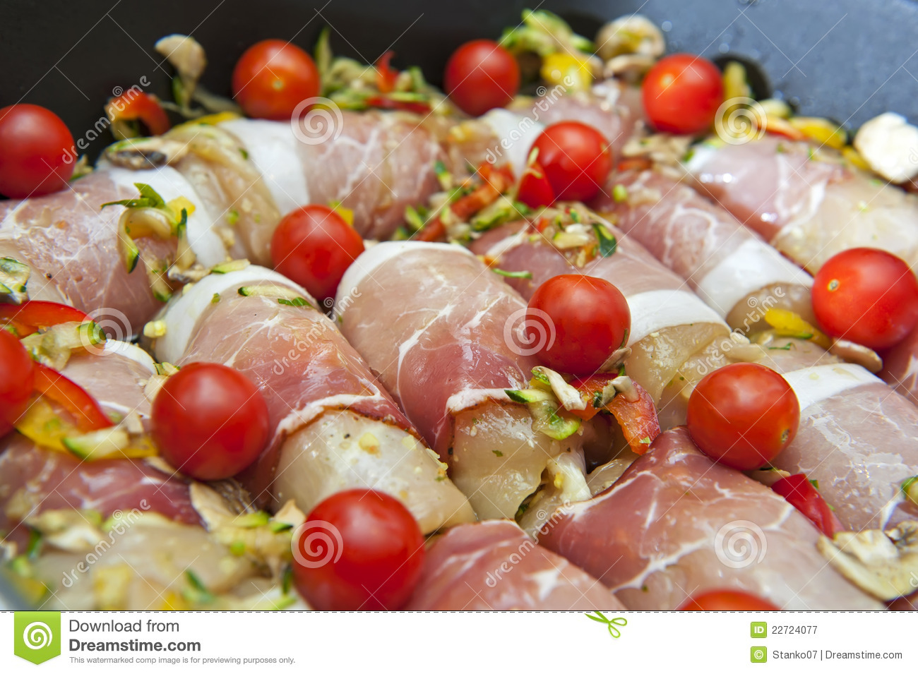 Chicken meat wrapped in bacon